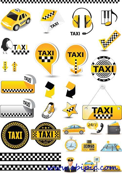 دانلود وکتور المان های تاکسی Vectors - Vivid Taxi Elements