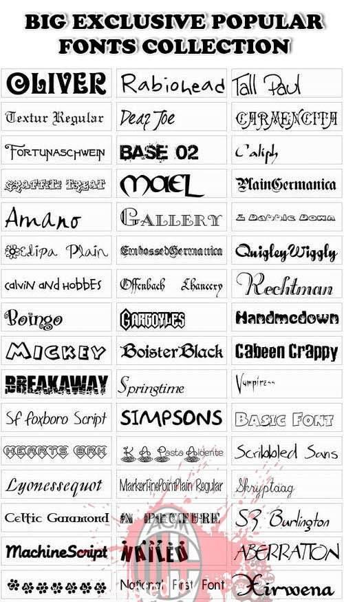 دانلود مجموعه ای از بهترین و معروفترین فونت های انگلیسی Popular Fonts Collection