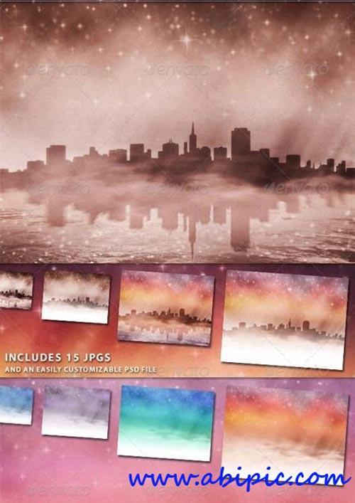 دانلود طرح لایه باز بکگراند و افکت فانتزی برای عکس City at Night Backgrounds