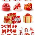 دانلود طرح وکتور جعبه کادو به همراه روبان Gift boxes with bows and red ribbons