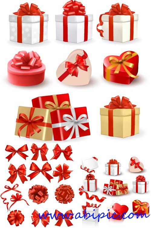 دانلود طرح وکتور جعبه کادو به همراه روبان Gift boxes with bows and red ribbon