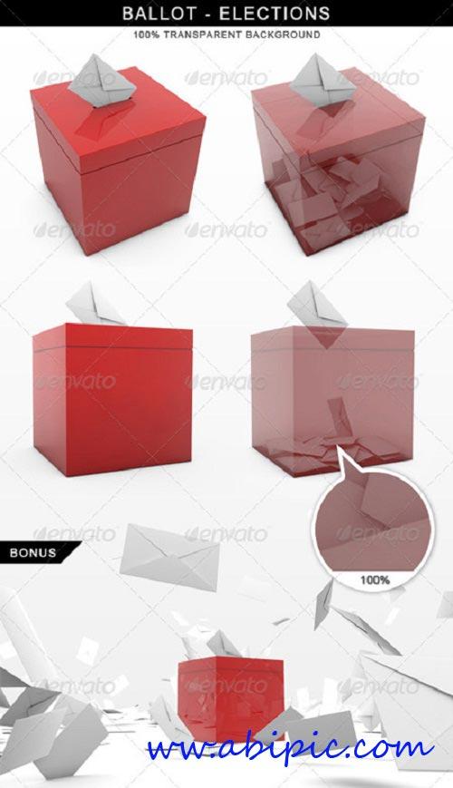 دانلود طرح لایه باز صندوق رأی و بصورت 3 بعدی Ballot Elections Vote 3D