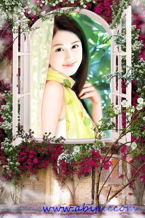 دانلود قاب عکس لایه باز با طرح پنجره تزئین شده با گل