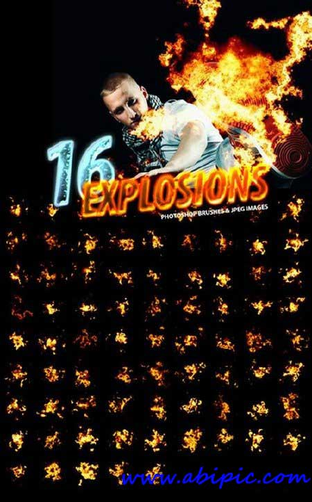 دانلود 16 براش شبیه سازی انفجار برای فتوشاپ Photorealistic Explosion Brushes