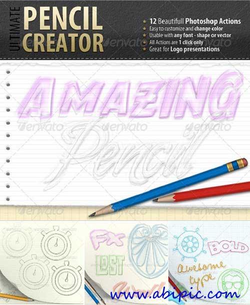دانلود اکشن فتوشاپ تبدیل عکس و نوشته به طرح های به سبک مداد