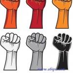 دانلود طرح وکتور دست مشت شده Vectors – Color fists