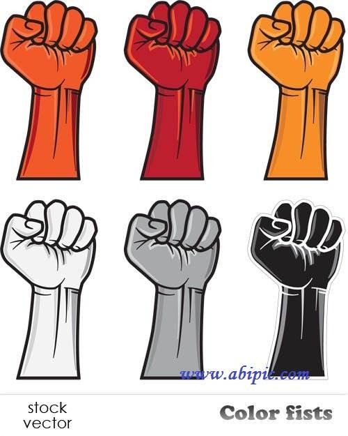 دانلود طرح وکتور دست مشت شده Vectors - Color fists