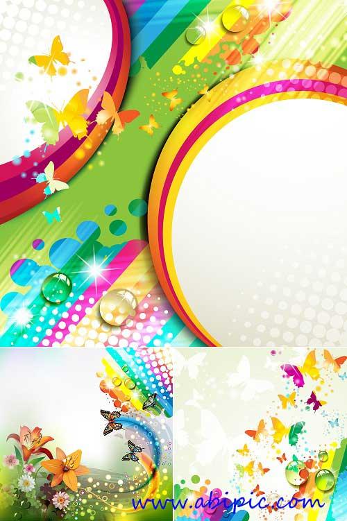 دانلود وکتور بک گراند با طرح رنگین کمان و پروانه Rainbow Butterflies Backgrounds