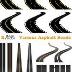 دانلود طرح وکتور جاده آسفالت Vectors Various Asphalt Roads