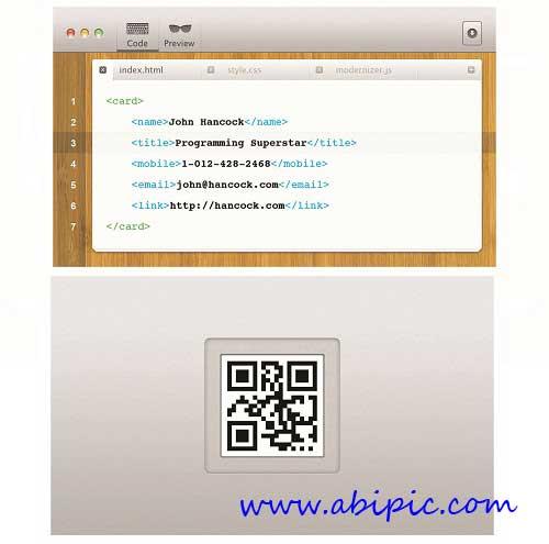 دانلود طرح لایه باز کارت وییزیت برنامه نویس کامپیوتر Programmer Business Card