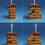 دانلود عکس استوک کیک تولد و شیرینی با طرح اعداد Pie & Candles Stock Photo