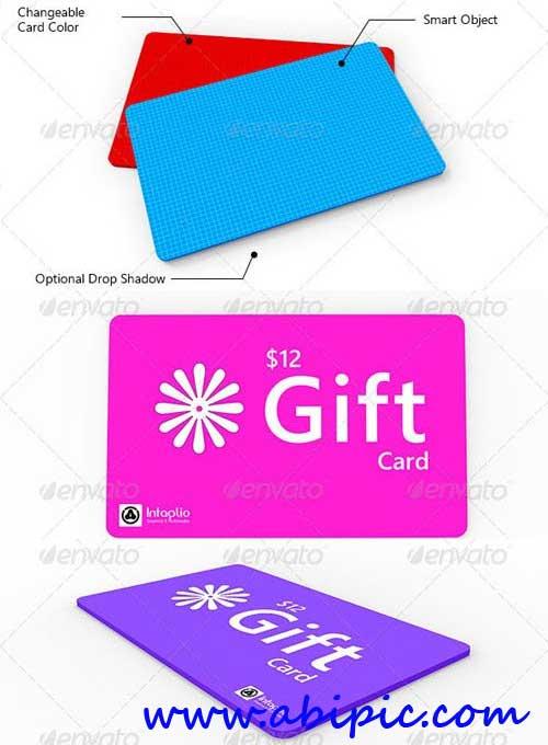 دانلود طرح mock Up ساخت کارت هدیه در فتوشاپ Gift Card Mockup
