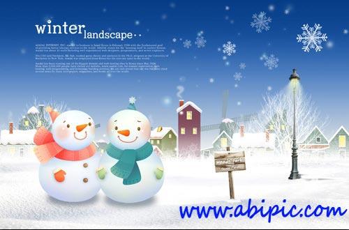 دانلود طرح لایه باز زمستان و آدم برفی PSD Sources Winter Story Two Snowmen