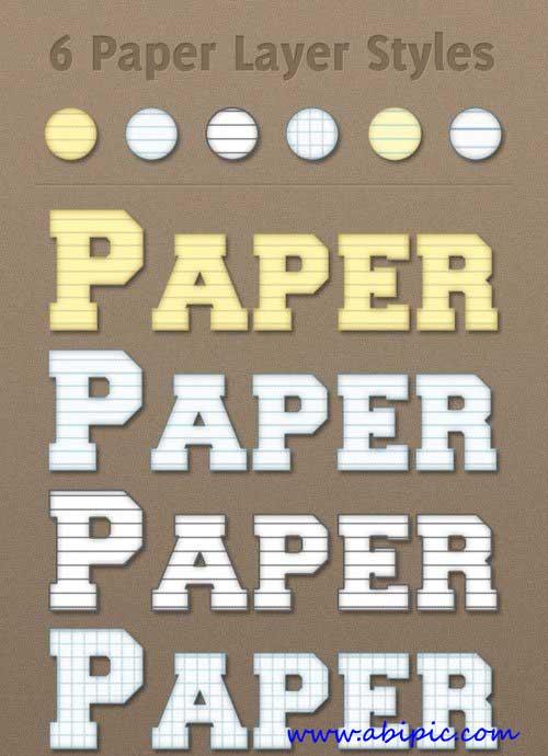دانلود استایل و افکت متن فتوشاپ با طرح برگ دفتر Paper Photoshop Styles