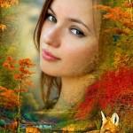دانلود طرح لایه باز فون عکس پاییزی Photo frame The Autumn wood