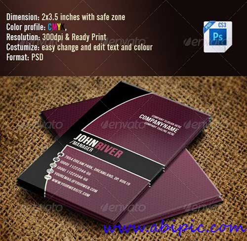 دانلود طرح لایه باز کارت ویزیت بنفش Simple Violet Business Card