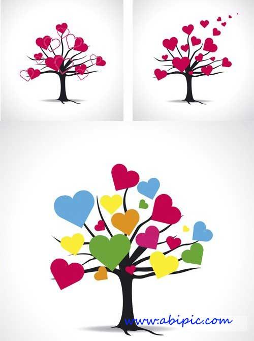 دانلود طرح وکتور با نام درخت عشق Stock Love tree with hearts