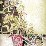 دانلود وکتور الگوهای سنتی با نقش گل و بوته Vectors Color Vintage Patterns