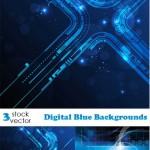دانلود وکتورهای بک گراند با طرح دیجیتال Vectors Digital Blue Backgrounds