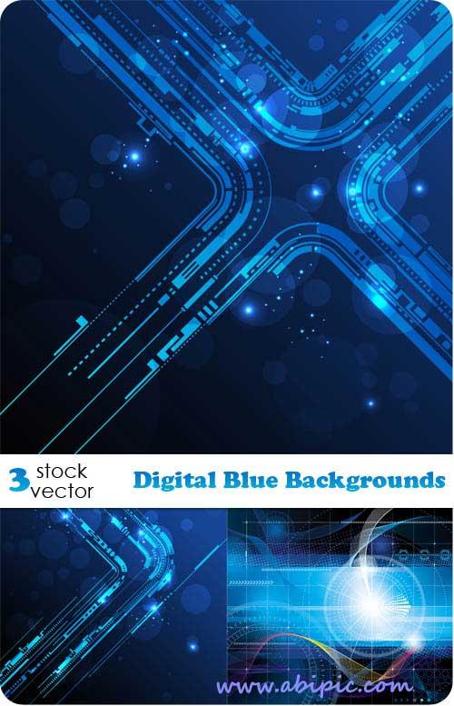 دانلود وکتورهای بکگراند با طرح دیجیتال Vectors Digital Blue Backgrounds