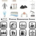 دانلود وکتور آیکون های منابع انرژی Vectors – Power resources icons