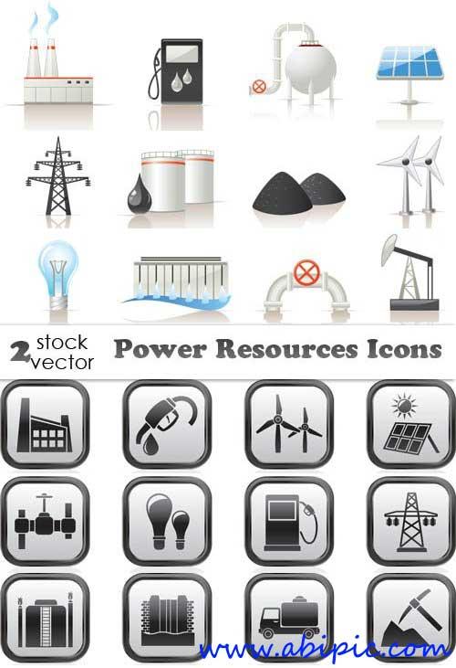 دانلود وکتور آیکون های منابع انرژی Vectors   Power resources icons