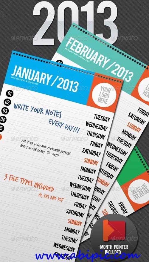 دانلود طرح وکتور تقویم دیواری زیبا Wall Calendar 2013