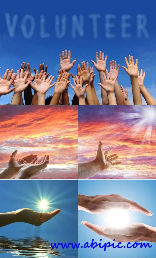 دانلود تصاویر شاتر استوک دست در آسمان Hands at the sky Stock Photo