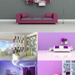 دانلود تصاویر شاتر استوک طراحی و دکوراسیون داخلی با تن رنگ بنفش