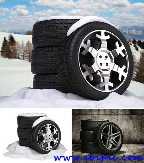دانلود عکس استوک تایر ماشین Automobile wheels winter rubber Stock photo