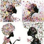 دانلود وکتور دختر با طرح گل و پروانه Spring Girl with Butterflies Vector