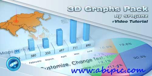 پروژه افترافکت نمودارهای آماری و دیاگرام ها3D Graphs Pack After Effects Project