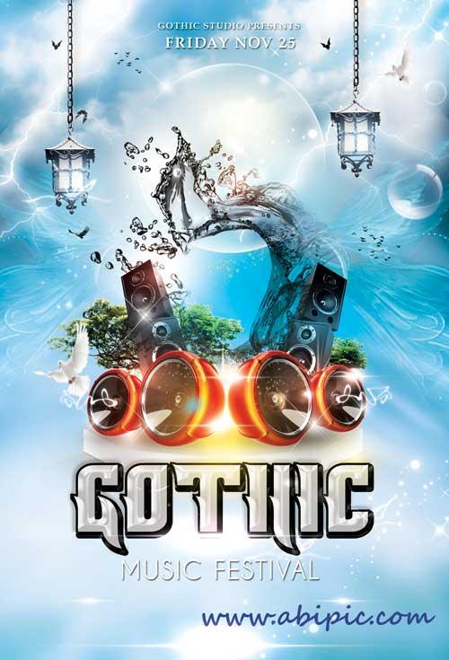 دانلود طرح لایه باز پوستر گوتیک Gothic Music Flyer PSD