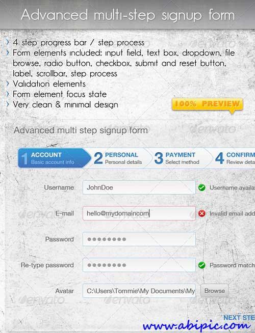 دانلود طرح لایه باز فرم عضویت چند مرحله ای Advanced Multi Step Signup Form