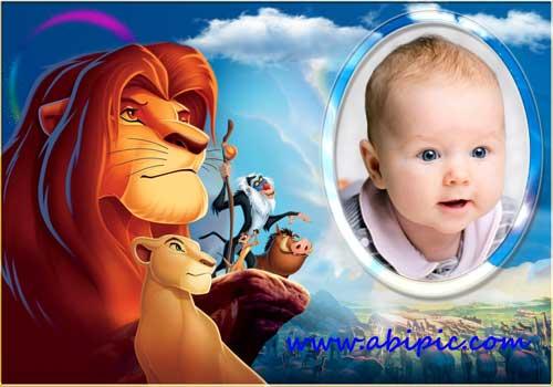 دانلود قاب عکس کودک با طرح کارتون شیر شاه Baby Picture Frame