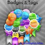 دانلود طرح لایه باز مدال و برچسب Badges and Tags PSD Template