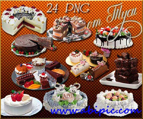 دانلود کلیپ آرت انواع مختلف کیک Clipart  A delicious cake for the holiday