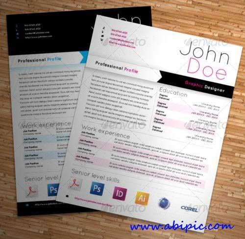 دانلود طرح ایندیزاین رزومه برای طراحان گرافیک Graphic Designer Resume