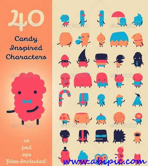دانلود طرح لایه باز 40 کارکتر الهام گرفته از آبنبات Candy Inspired Characters
