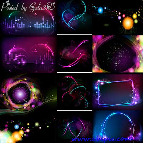 دانلود وکتور پس زمینه با رنگ های نئون Images neon light