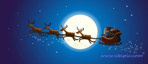 دانلود طرح لایه باز بابانوئل و سورتمه GraphicRiver - Santa and Christmas