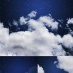 دانلود عکس استوک آسمان شب Stock Photo Blue sky with stars and clouds