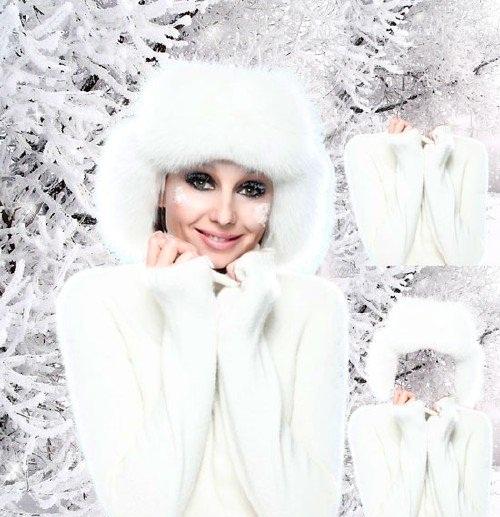دانلود فون مونتاژ عکس لباس زمستانی خانم ها Template Girl in white