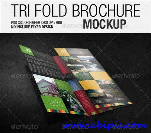 دانلود طرح mock-up بروشور 3 لایه Tri Fold Brochure Mockup