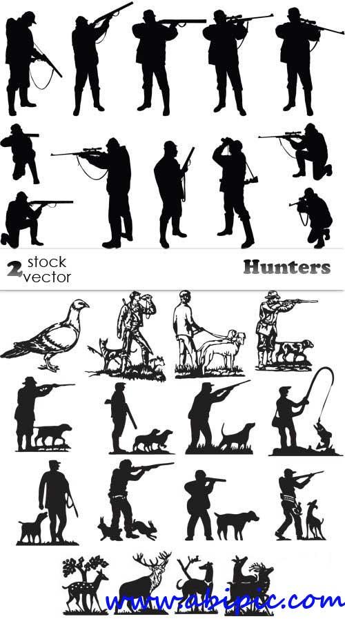 دانلود وکتور سیاه شکار و  شکارچی Vectors - Hunters