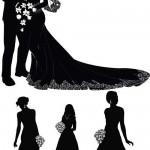 دانلود وکتور سیاه و سفید عروس و داماد Bride and groom Vector