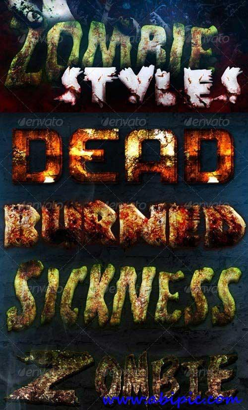 دانلود ۸ استایل زیبای فتوشاپ با طرح زامبی Zombie Styles