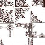 دانلود وکتور کادر و حاشیه طراحی سری 6 Vectors Natural Ornament Corners