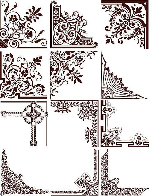 دانلود وکتور کادر و حاشیه طراحی سری ۶ Vectors Natural Ornament Corners