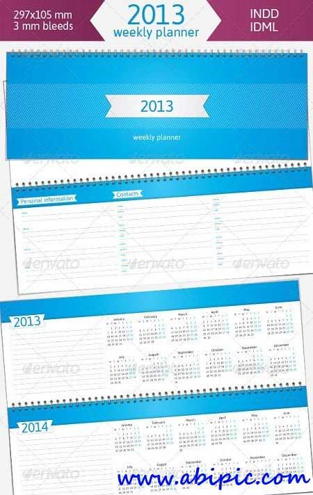دانلود طرح ایندیزاین دفترچه و برنامه هفتگی همراه با تقویم 2013 Weekly Planner
